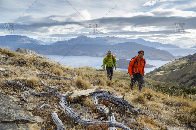 Patagonia, Aysen Region, Chile - February 15, 2016: Hikers at the Chacabuco Valley with a view over Lago Cochrane, Parque Patagonia, Aysen Region, Chile