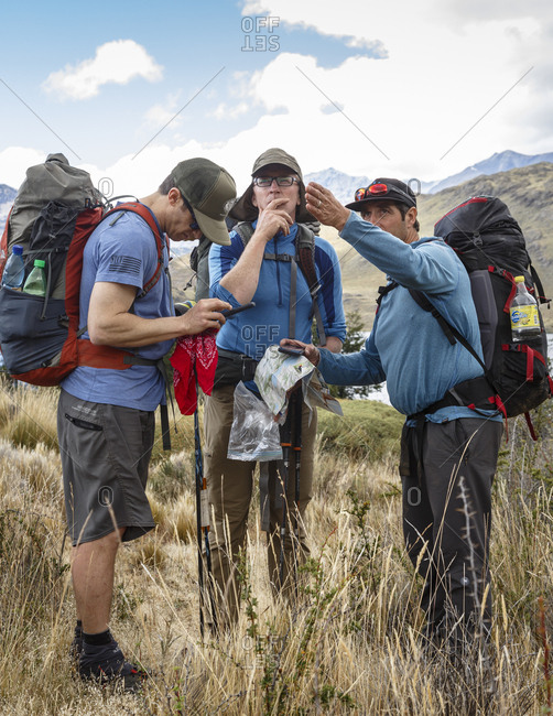 Patagonia, Aysen Region, Chile - February 15, 2016: Men navigating through the Chacabuco Valley, Parque Patagonia, Aysen Region, Chile