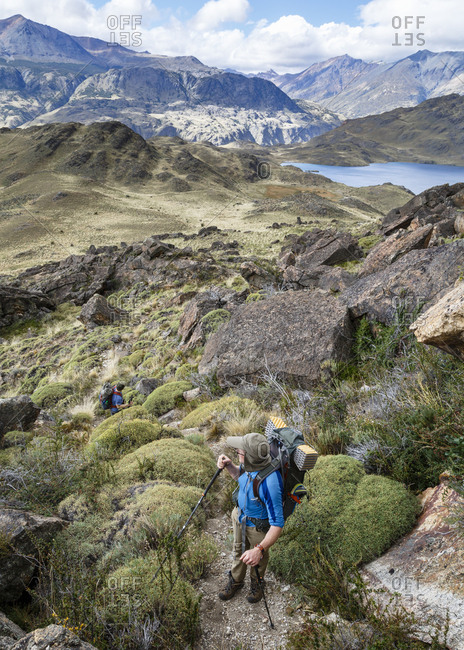 Patagonia, Aysen Region, Chile - February 15, 2016: Hikers at the Chacabuco Valley, Parque Patagonia, Aysen Region, Chile
