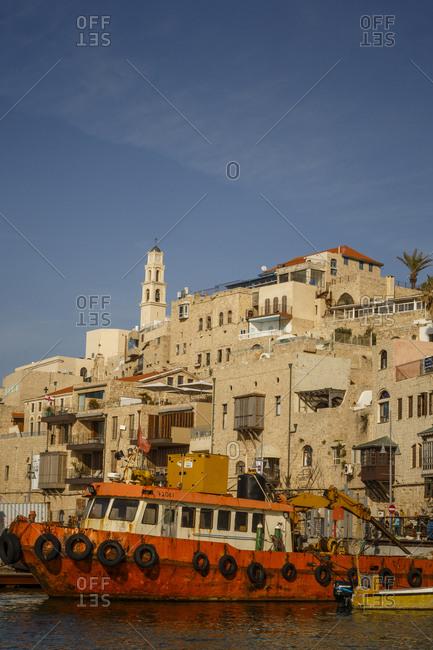 Jaffa, Tel Aviv, Israel - April 3, 2016: View over the port and old Jaffa, Tel Aviv, Israel