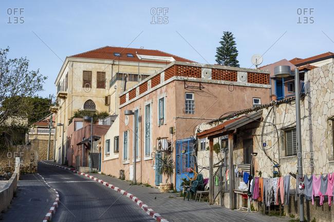 Jaffa, Israel - April 3, 2016: Buildings and clothesline at Ajamy neighborhood, Jaffa, Israel