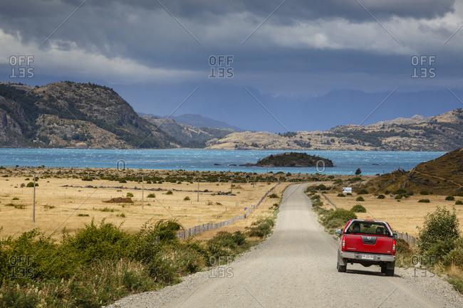 Patagonia, Aysen Region, Chile - February 13, 2016: Lago General Carrera, Carretera Austral Road, Patagonia