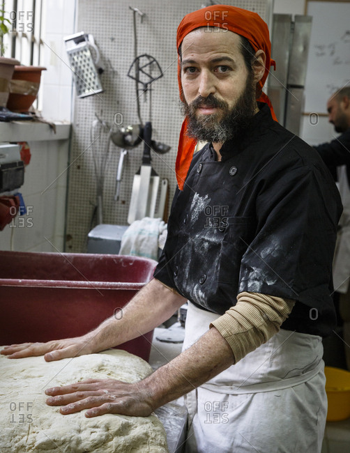 Jaffa, Tel Aviv, Israel - December 13, 2015: Asaf Tzur, owner of The Kaymak Patisserie, Tel Aviv, Israel