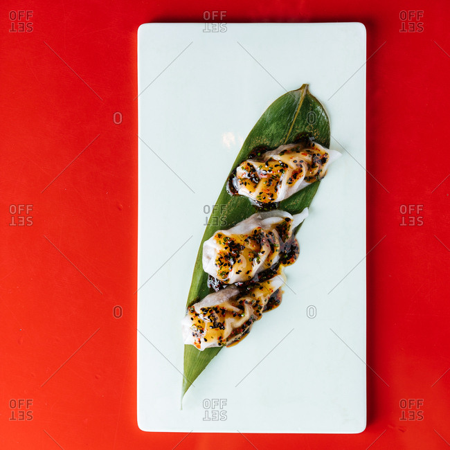 Gourmet appetizer on red background