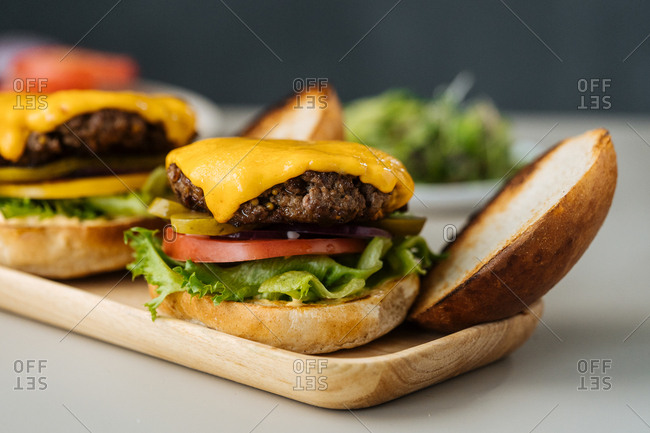 Fresh cooked cheeseburgers