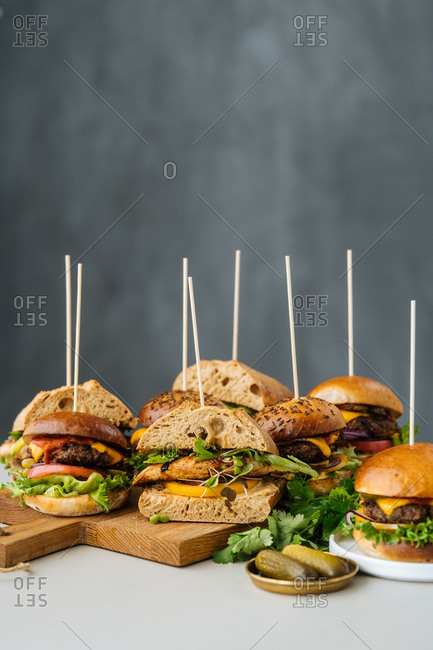 Chicken sandwiches and cheeseburgers