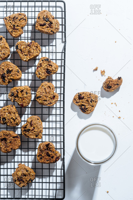 Heart shaped granola cookies cooling on a rack
