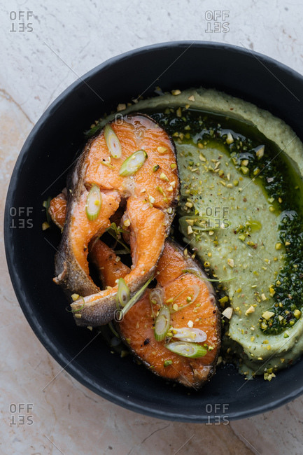Wild salmon with green sauce and pistachio