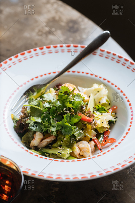 Bowl of shrimp and pasta salad