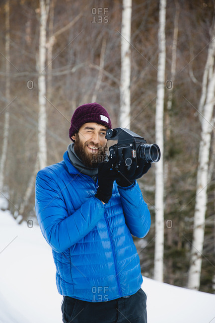 Cameraman in a cold climate