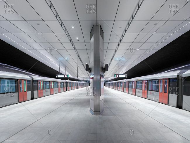 February 7, 2006: Subway cars waiting at the platform of the new Rokin station subway station in Amsterdam, The Netherlands