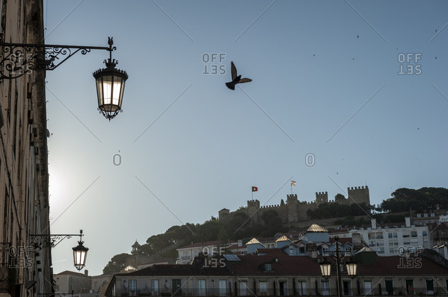 June 1, 2014: The Castle Sao Jorge in the morning seen from  the Figueira square in Lisbon, Portugal.