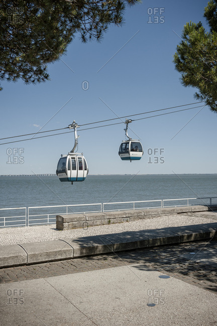 June 1, 2014: Cable cars on the Lisbon Expo.