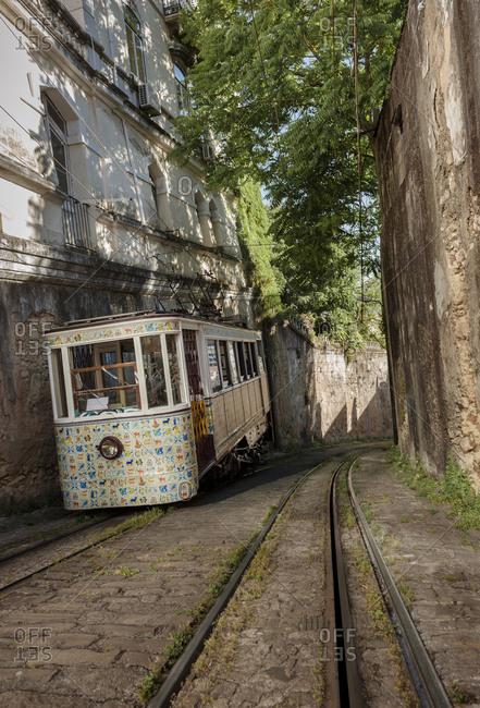 June 1, 2014: The Lavra Funicular (Ascendor do Lavra) in service since 1914 in Lisbon, Portugal. It is the oldest funicular.