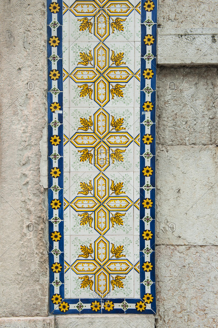 Tiles on a house in Lisbon, Portugal.