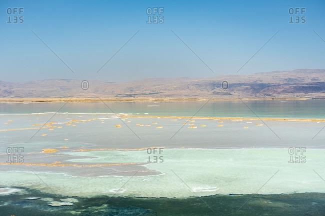Salt deposits on the Dead Sea coast, Ein Bokek, Southern District, Israel
