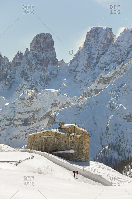The fort of Prato Piazza with the Piz Popena and Cristallo mount on background, Prato Piazza, Braies, Trentino Alto Adige, Italy, Europe