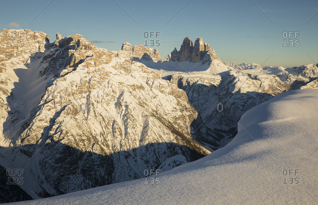 Panoramic view on the Tre Cime di Lavaredo along the path that lead to the Picco di Vallandro, Prato Piazza, Braies, Trentino Alto Adige, Italy