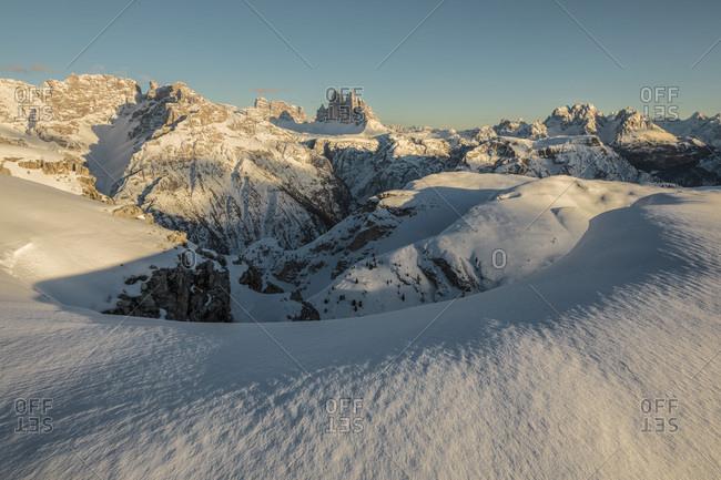 Panoramic view on the Tre Cime di Lavaredo and Cadini di Misurina mountains along the path that leading to the Picco di Vallandro, Prato Piazza, Braies, Trentino Alto Adige, Italy