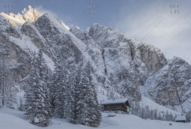 February 3, 2018: Tre Scarperi refuge in wintry landscape, Sesto, Pusteria valley, Trentino Alto Adige, Italy, Europe