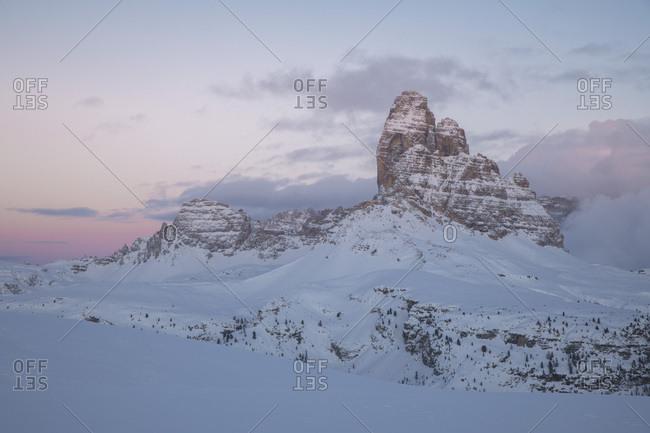 Last light from Monte Piana to Tre Cime di Lavaredo peak and Dolomites of Sesto, Auronzo di Cadore, Veneto, Italy, Europe