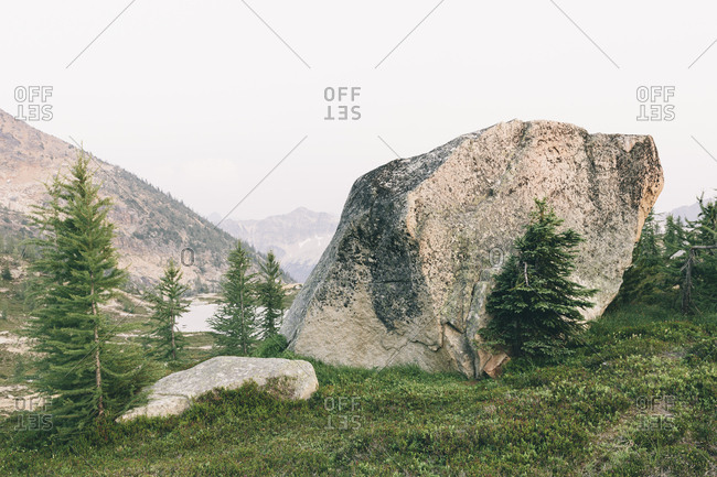 Rock formations in mountain alpine landscape, near Snowy Lakes, along the Pacific Crest Trail, North Cascades, Washington