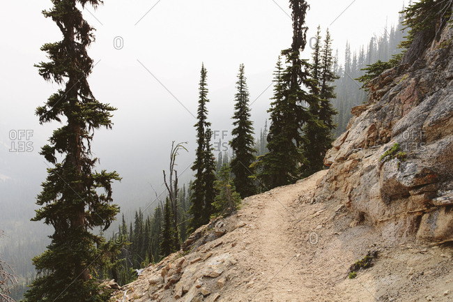The Pacific Trail winds along a smoky and hazy section, near Cutthroat Pass, North Cascades, Washington