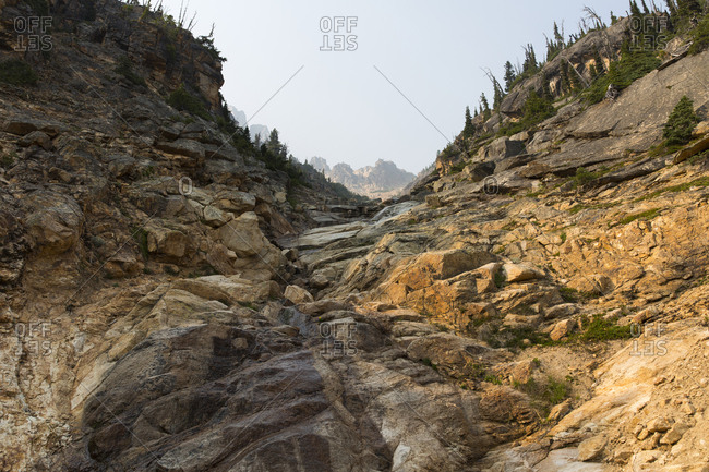 Towering cliffs and mountains along the Pacific Crest Trail, North Cascades, Washington