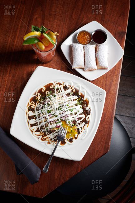 Overhead view of huevos rancheros