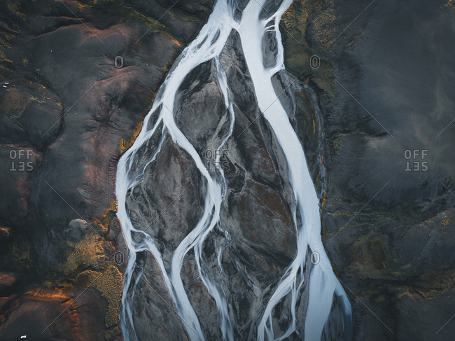 Aerial view of diverging glacial river in Iceland