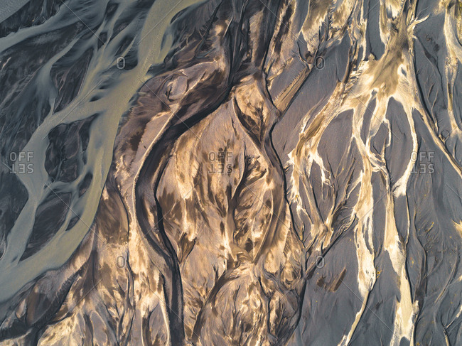 Aerial view of converging glacial rivers