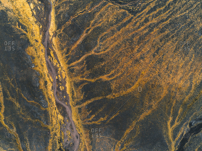 Aerial view of glacial river and runoff in the Highlands of Iceland