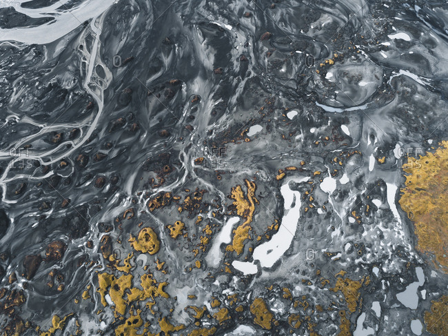 Aerial view of runoff from glacial rivers in the Highlands of Iceland