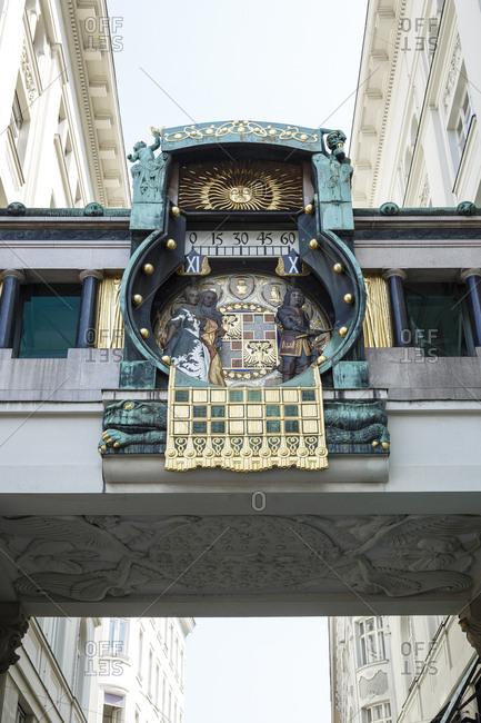 The Ankeruhr (Anker Clock) in Hoher Markt, Vienna, Austria.