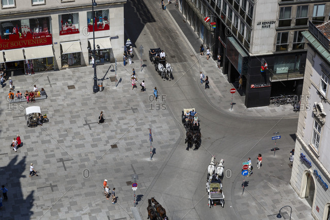 May 29, 2018: Overhead view of pedestrians in commercial district, Vienna, Austria