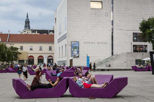 May 29, 2018: People at the Museumsquartier, a cultural complex with museums cafes and restaurants, Vienna, Austria.