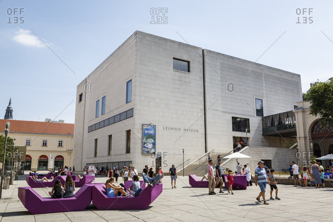 May 31, 2018: People at the Museumsquartier with the Leopold Museum in the background, Vienna, Austria.