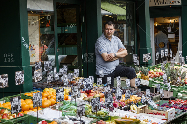 June 1, 2018: Fruits and vegetables stall at the Naschmarkt, Vienna, Austria.