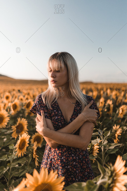 Front view of young blonde girl hugs herself in the middle of countryside of sunflowers in a sunset of summer