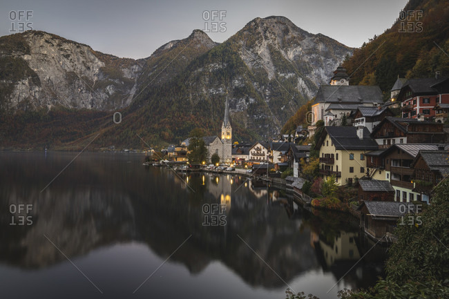 View of scenic village of Hallstatt, Upper Austria, Austria