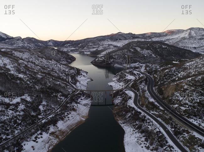 Aerial view of reservoir in winter, Sena de Luna, Castile and Leon, Spain