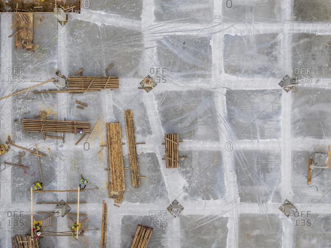 Aerial view of construction site, Atlanta, Georgia, USA