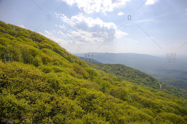 Scenic view of clouds over green forest in Appalachian Mountains, Virginia, USA