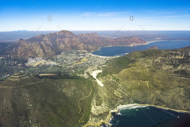 Aerial view of peninsula below Cape Town, South Africa