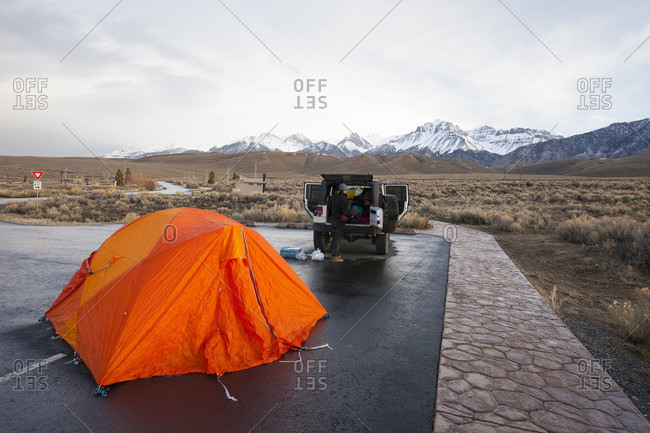 Mountaineers camping in the parking lot of Joe T. Falini Campground the night before climbing Donaldson Peak in the Lost River Mountain Range, Idaho, USA