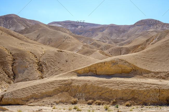 Majestic natural scenery of barren hills in Judean Desert, Mitspe Yeriho, West Bank, Palestine