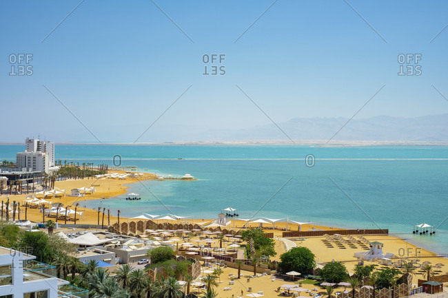 Aerial view of hotel and resort on shore of Dead Sea, Ein Bokek, Southern District, Israel