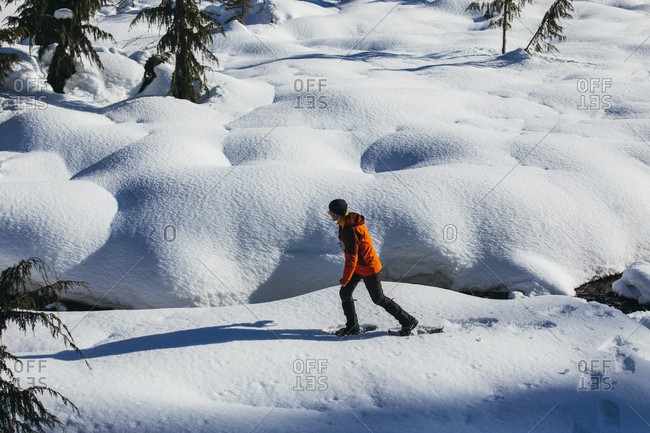 Man nowshoeing across snow-covered terrain, Whistler, British Columbia, Canada