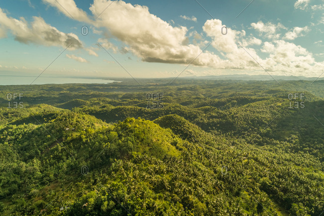 Aerial view of lush green hills by Tanon Strait, Philippines.