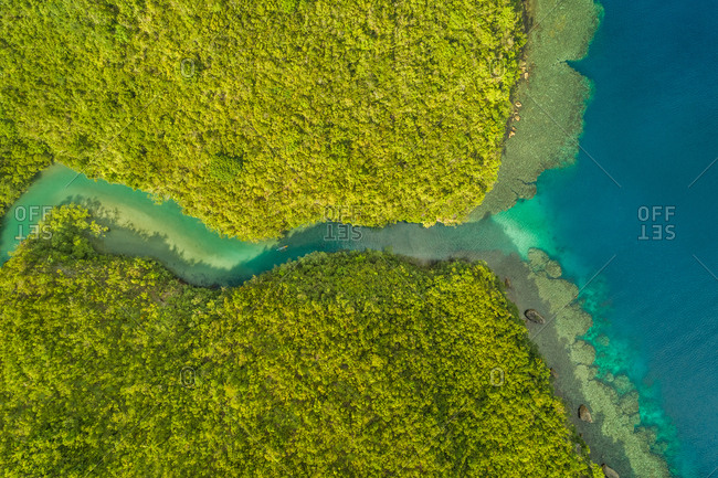 Aerial abstract view of Bojo River in Aloguinsan, Philippines.